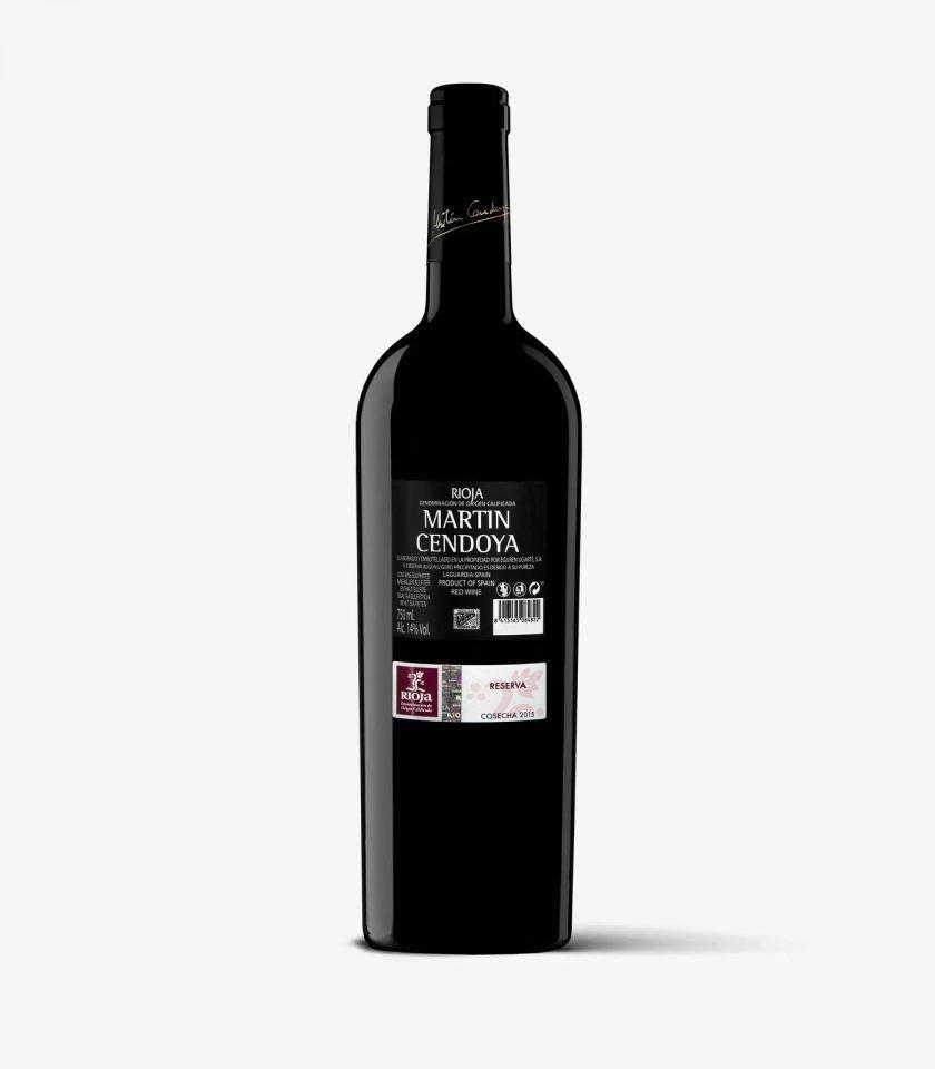 Botella Martín Cendoya 2015. Vino tinto Rioja