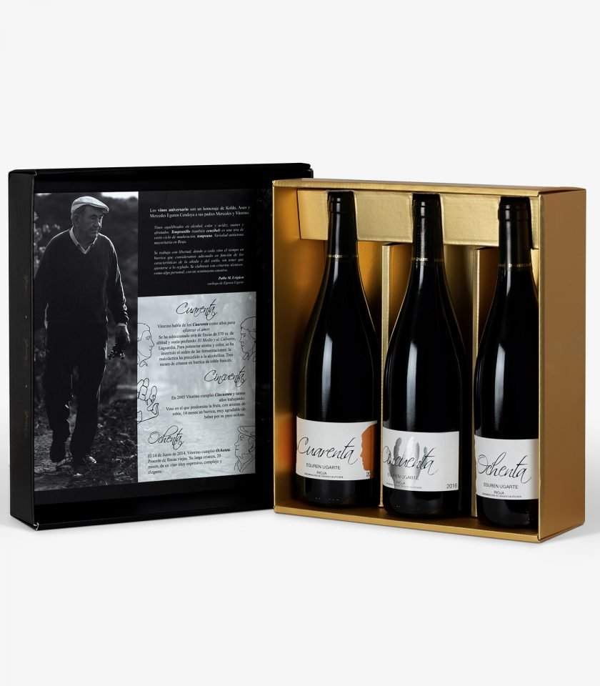 Estuche 3 botellas vino tinto de Rioja.