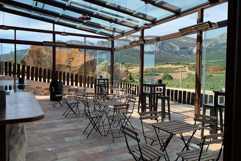 Terraza vistas viñedos. Bodega Álavesa en Laguardia sierra cantabria 2